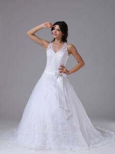 Halter Bowknot and Lace Over Skirt For Elegant Wedding Dress Lace Court Train
