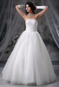 Hiawatha Iowa Beaded Decorate Bodice Tulle Ball Gown Wedding Dress
