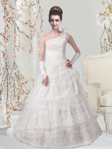 Elegant Princess One Shoulder Floor Length Wedding Dress with Lace
