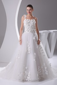 Appliques And Lace One Shoulder Court Train Wedding Dress