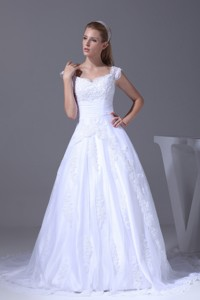 V-neck Caps Sleeves Lace Court Train Wedding Dress