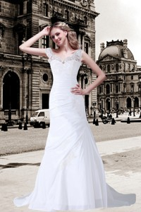 Column V Neck Appliques Lace Wedding Dress with Brush Train