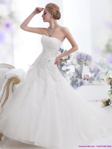 White Strapless Wedding Dress With Sequins And Brush Train