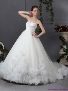 New Style Ruffled White Wedding Dress With Chapel Train