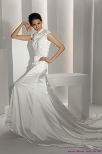 White High Neck Wedding Dress With Cathedral Train And Beading
