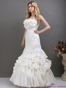 Pleated White Strapless Wedding Dress With Ruffles And Pick Ups