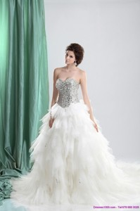 White Sweetheart Rhinestones Wedding Dress With Chapel Train And Ruffles