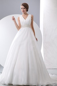 Gergeous V-neck Court Train Taffeta And Organza Ruch And Beading Wedding Dress