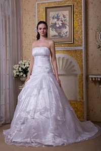 Modest Strapless Court Train Taffeta And Organza Hand Made Flower Wedding Dress
