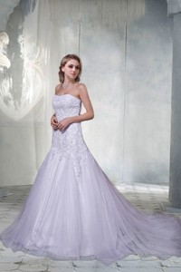 Beautiful A Line Court Train Appliques Wedding Dress With Strapless