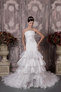 Inexpensive Mermaid Strapless Court Train Organza Appliques and Ruch Wedding Dress