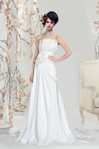 A Line Strapless Hand Made Flower Wedding Dress With Court Train
