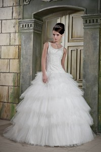 Modest Ball Gown Scoop Brush Train Tulle Beading Wedding Dress