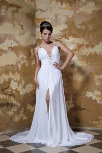Elegant Empire Spaghetti Straps Court Train Chiffon Beading Wedding Dress