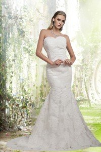 Luxurious Sweetheart Lace Mermaid Wedding Dress With Brush Train