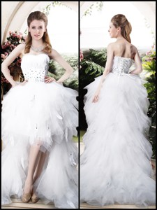 Beautiful High Low Sweetheart Wedding Dress With Beading And Ruffles