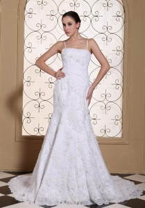 Spaghetti Straps Mermaid Wedding Dress Lace With Beading Decorate Bodice