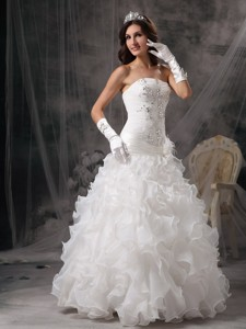 Gorgeous Strapless Floor-length Organza Beading Wedding Dress
