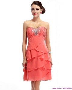 Mini Length Sweetheart Prom Dress With Rhinestones And Ruching