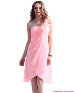 Baby Pink One Shoulder Prom Dress With Ruching