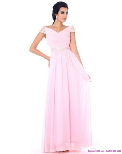 Perfect Off The Shoulder Beading Prom Dress In Baby Pink