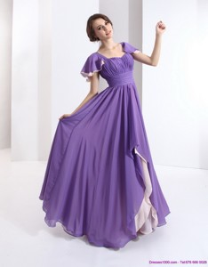 Gorgeous Prom Dress With Ruching And Cap Sleeves