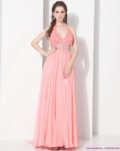 Exclusive Halter Top Prom Dress With Beading And Ruching