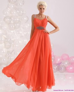 Cheap Empire Orange Prom Dress With Beading And Ruching