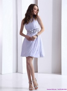 Discount One Shoulder White Prom Dress With Ruching And Sequins