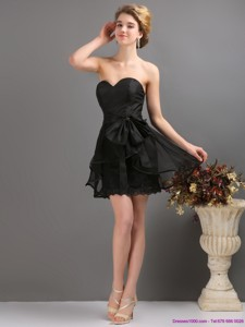 Gorgeous Sashe Mini Length Prom Dress In Black
