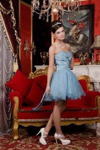 Light Blue Pricess Sweetheart Mini-length Organza Beading Prom Homecoming Dress