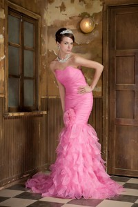 Rose Pink Mermaid Sweetheart Brush Train Organza Hand Made Flower and Ruffles Prom Dress
