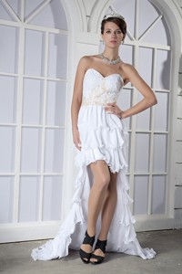 White Column Sweetheart High-low Chiffon Beading Prom Dress