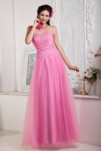 Rose Pink Prom Dress For Custom Made Empire Sweetheart Floor-length Tulle Beading