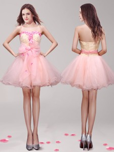 Romantic Hand Made Flowers and Appliques Short Prom Dress in Peach