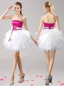 Discount Strapless Short Prom Dress with Ruffles and Bowknot