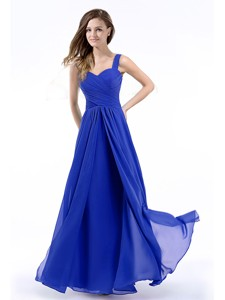 Latest Straps Chiffon Royal Blue Prom Dress with Hand Made Flowers