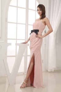 Champagne Empire Belt And Ruching Strapless Long Prom Dress