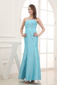 Spaghetti Straps Beading Ankle-length Bridesmaid Dress