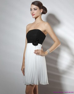 Strapless Ruching And Hand Made Flower Prom Dress In White And Black