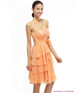 Strapless Short Prom Dress With Ruching And Hand Made Flower