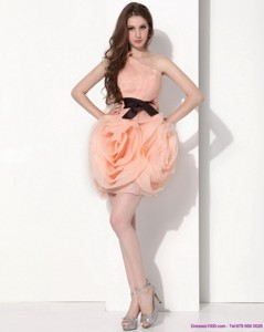 Popular One Shoulder Short Prom Dress With Bowknot