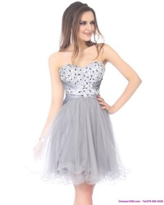 Luxurious Sweetheart Grey Prom Dress With Rhinestones
