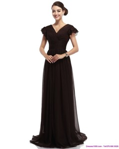 Popular Cap Sleeves And Brush Train Prom Dress In Black