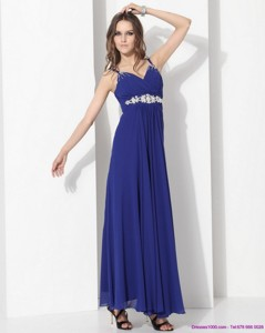 Wonderful Ankle Length Blue Prom Dress With Beading