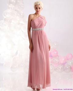 Wonderful One Shoulder Prom Dress With Beading And Ruching