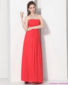 Wonderful Strapless Empire Coral Red Prom Dress With Ruching