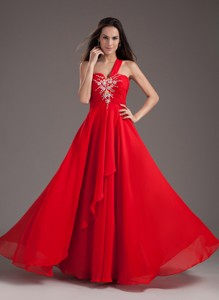 Red Empire One Shoulder Floor-length Chiffon Beading Prom Dress 15207