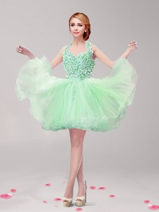 Classical Ruffled Prom Dress In Apple Green For Spring