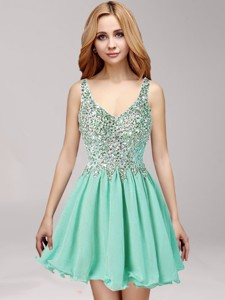 Modest Straps Apple Green Prom Dress with Beading and Ruffles for Spring